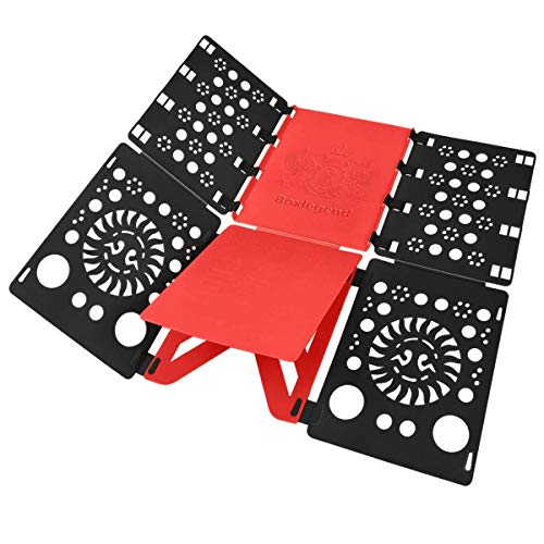 BoxLegend Doblador de Ropa - Tabla para Doblar la Ropa - Placa Ayuda para Plegar la Ropa Camisetas Tablero para Plegar Camisas Negro (Negro-Rojo)