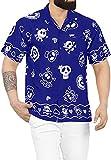 LA LEELA Casual Camisa de Hombre Hawaiana Manga Corta Bolsillo Delantero Playa Vintage Piratas Skeleton Esqueleto Calabaza Skulls Cráneo Cosplay Disfraces De Fiesta De Halloween Costume Azul_W189 3XL