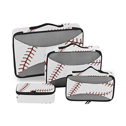 CPYang Sports - Juego de 4 Cubos de Embalaje con impresión de béisbol para Equipaje, organizadores de Viaje, Bolsa de Almacenamiento de Malla para Maleta