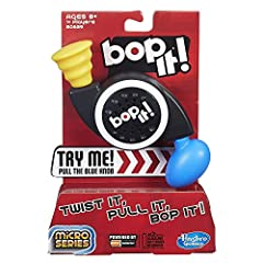 Bop It! Micro Series game is fast-paced, compact fun Follow the game's commands to Bop it, Twist it and Pull it in the right sequence You get a point for each command you complete 2 game modes: Solo or Pass It Includes electronic game unit and instru...