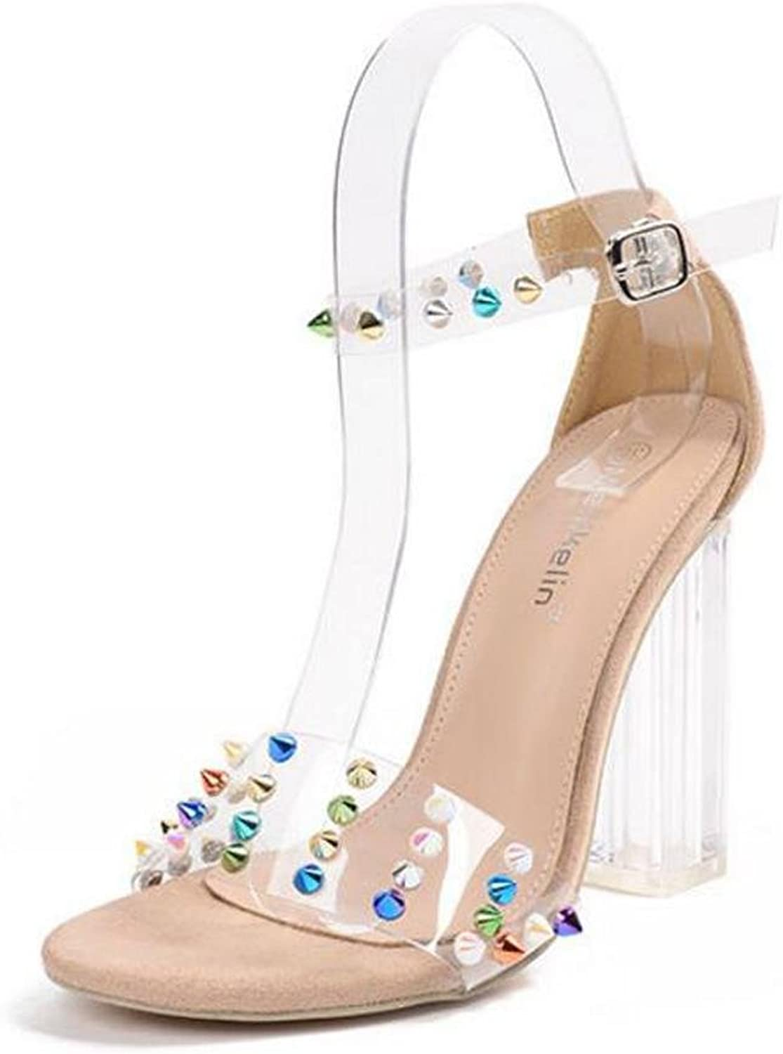 L@YC Women High-Heeled shoes with a Word with Crystal Heel 11cm Sandals