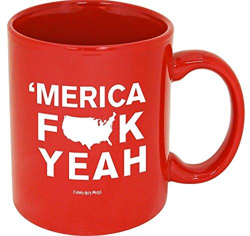 Funny Guy Mugs Merica Fck Yeah Ceramic Coffee Mug, Red, 11-Ounce