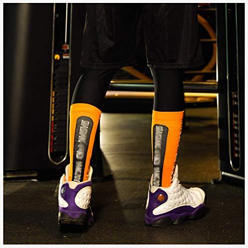 YXYLD Compressiekousen met 5 paar korte sokken, 3D-bescherming kuitsokken voor mannen en vrouwen, voor basketbal, voetbal, sport, outdoor geel