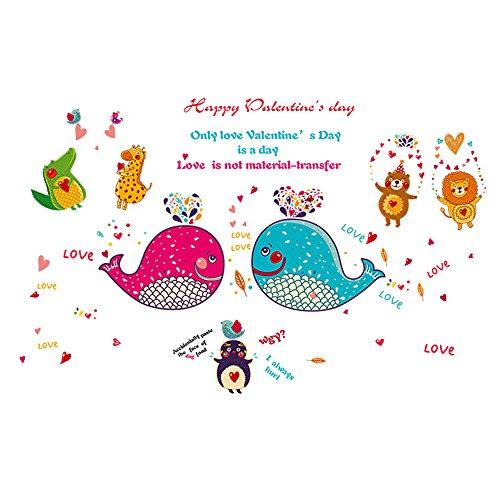 Winhappyhome Dolphins Amour Art Stickers Muraux pour Les Enfants Chambre Nursery Salon Café FenêTre Fond Amovible DéCoration Stickers
