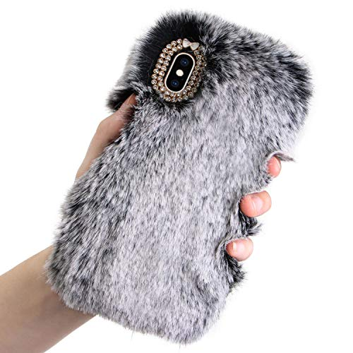 Plush Case for iPhone Xs/iPhone X Rabbit Fur Case,LCHDA Apple iPhone Xs X Bunny Furry Fluffy Fuzzy Phone Case for Girls Cute Winter Warm Hair Soft TPU Back Case Cover with Luxury Diamond Bowknot-Gray