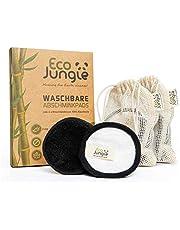 ECO JUNGLE - Toallitas desmaquillantes lavables (12 unidades, 3 capas de algodón de bambú y Zero Waste - sostenibles y reutilizables - probadas por TÜV Rheinland - + 2 bolsas de lavado)