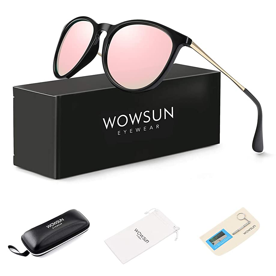 WOWSUN Polarized Sunglasses for Women Vintage Retro Round Mirrored Lens