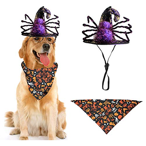 BEAUTY ANGELBELLA Pet Halloween Costumes Spider Hat with Dog Bandana, Masquerade Hat for Dogs Cats Costume Puppy Kitty Stylish Enchanter Cosplay Hat for Christmas, Halloween, Kids Party Decoration
