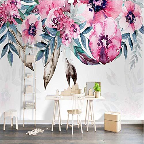 Fotomurales papel de pared 3d Hojas de flores no tejido moderna Fotográfico Diseno TV Fondo grandes salones Hogar decorativos -350X250 cm (137 * 98 pulgadas)