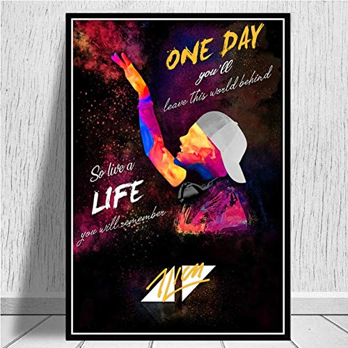 hahastore Avicii Legende DJ Musik Sänger Sternenhimmel Modernes abstraktes Poster Druckgrafik Ölgemälde Kunst Leinwand Wandbild Wohnzimmer 50x70cm (randlos)