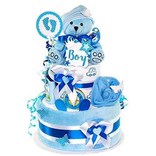 MomsStory - Windeltorte Junge | Teddy-Bär | Baby-Geschenk zur Geburt Taufe Babyshower | 2 Stöckig (Blau) mit Plüschtier Lätzchen Schnuller & mehr