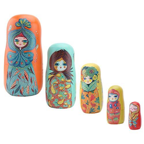 Tomaibaby 5 Piezas Muñecas de Anidación Juguetes de Apilamiento Ruso de Madera Rusa Matryoshka Creativa Muñecas Apilables Decoración Niños