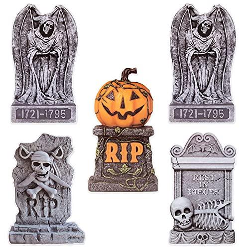5 Piezas Lápida de Halloween Señales Jardín Halloween Decoraciones Cementerio con Estaca Accesorios Decoración Lápida Halloween para Jardí al Aire Libre