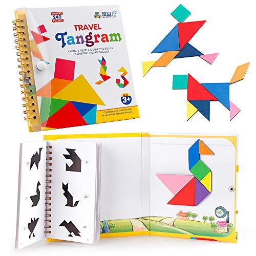 Coogam Travel Tangram Puzzle avec 3 jeux de Tangram magnétique - Road Trip Tangoes Formes de puzzle jeux de Dissection avec Solution