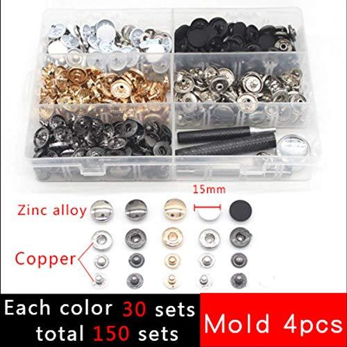 One Box drukknoppen+4 Gereedschap Metalen drukknopen Snap Fasteners voor het naaien Leathercraft Tassen Armband Riem 15mm Foto Kleur