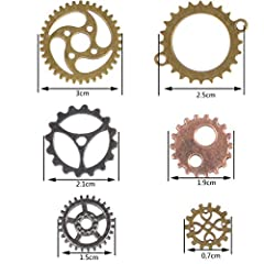 FOCCTS Jewelry Cogs 100 Grams Assorted Antique Steampunk Gears Charms Cogs, for Jewelry Making Accessory & Crafting, Mixed Colors #1