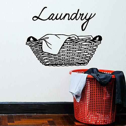 AGjDF Wäschewand Aufkleber Schmutzige Kleidung Korb Sauberes Vinylfenster Glasaufkleber Waschkleidung Kunst Wasserdichtes Wandbild42x53cm