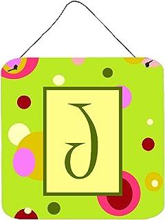 Caroline's Treasures CJ1010-JDS66 Letter J Initial Monogram - Green Aluminium Metal Wall or Door Hanging Prints, 6x6, Mult...