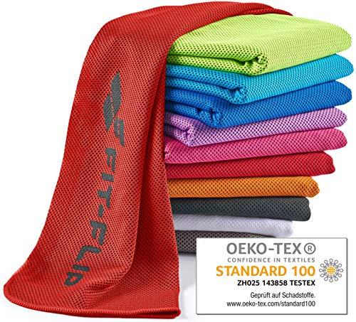 Fit-Flip Kühlendes Handtuch 100x30cm, Mikrofaser Sporthandtuch kühlend, Kühltuch, Cooling Towel, Mikrofaser Handtuch  Farbe: rot, Größe: 100x30cm