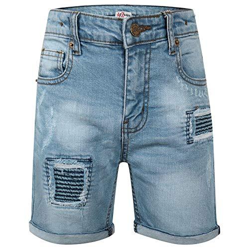 A2Z 4 Kids® Enfants Garçons Shorts Designer Bleu Clair Denim - Boys Denim Short Ripped Light Blue_11