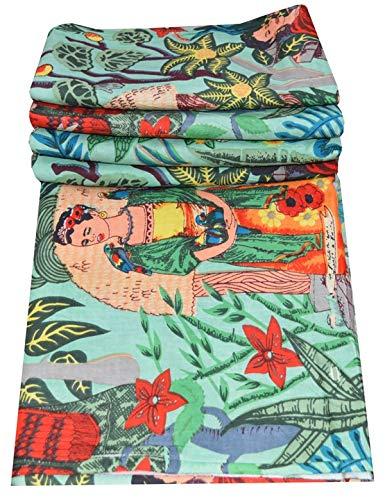 Stoff, indische Baumwolle, traditioneller Frida Kahlo Druck, für Kleidung, Laufen, 9,7 m, baumwolle, grün, 10 YARD