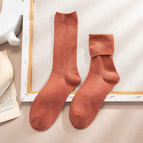 XINDUO Calcetines Termicos Mujer de Invierno,Calcetines de algodón Dulce Color Puro 5 Piezas-Rosa,Calcetines de algodón de Mujer Sencillos y cómodos