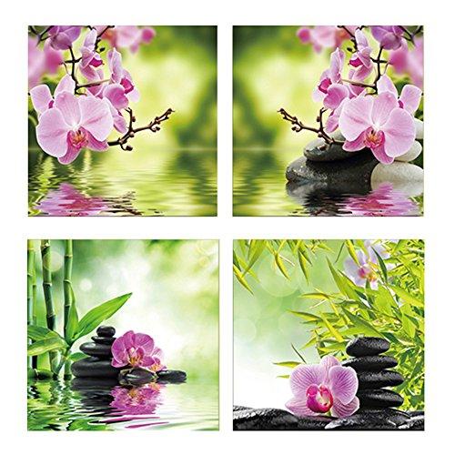 4-teiliges Set moderne ungerahmte Schmetterlinge Orchidee Blume Wandbild Gemälde Home Decor Rycnet 40 x 40 cm