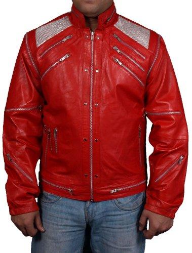 "Herren-Kunstleder-Jacke in originellem ""Beat It""-Stil von Michael Jackson Gr. S, rot"