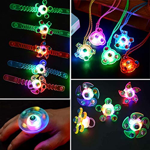 RXYQ15Pack Christmas bulk toys for kids glow in the dark Party favors prizes for kids classroom 5 bracelets 5 rings 5 necklaces LED light up toys party favor bags,goodie bags pinata filler for boys girls