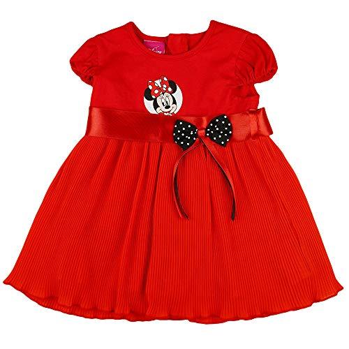 Minnie Mouse - Vestido de fiesta para nia de Disney, bonito vestido de Navidad, talla 86, 92, 98, 104, 110, 116, algodn, con lazo, color rojo rojo 116 cm