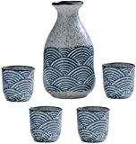 Juego de Tazas de Sake Japones Set de sake japonés, conjunto de taza de 5 piezas de sake incluye olla de cerámica de la textura de onda y taza elegante pintoresco sake sake calentador decantador artes