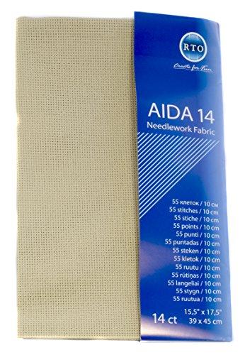 RTO Aida 14-Count-Gewebe, 100% Baumwolle, beige, 39x 45cm