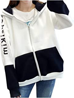 LOPELY Ladies Hooded Jacket Women's Streetwear Style Loose Casual Hoodie Sweatshirt Full Zip Hooded Top Coats Plus Size