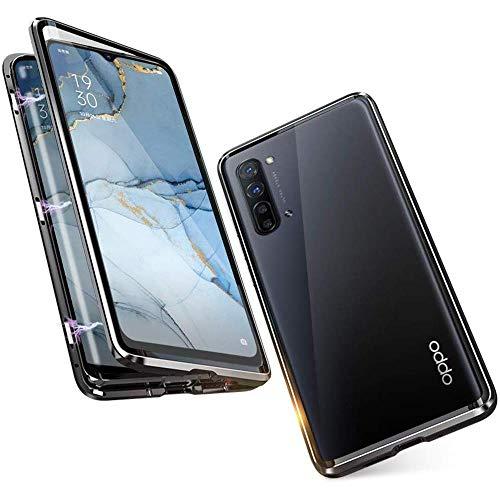 Handyhülle für OPPO Find X2 Neo / Reno3 Pro 5G, Hülle Magnetic Adsorption, Schutzhülle 360 Grad Komplett Schutz Hülle Metall Bumper mit Gehärtetes Glas Ultra Dünn Transparent Hülle Cover, schwarz