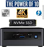 Intel NUC NUC10i7FNH1 Mini PC/HTPC, Six-Core i7- Up to 4.7GHz, DDR4-2666 RAM WiFi, BT 5.0 Thunderbolt 3, 4K Support, Triple Monitor Capable (64GB RAM + 2TB Premiere NVMe M.2 SSD + 2TB HDD)