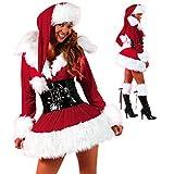 Lizefang Conjunto de 3 Piezas de Disfraz de Papá Noel para Mujer, Minivestido de Lujo con Sombrero y cinturón, Disfraz de Papá Noel para Mujer, Vestido temático navideño para Pareja, Cosplay y Fiesta