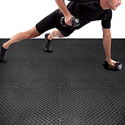 BEAUTYOVO Puzzle Exercise Mat with 24 Tiles Black Interlocking Foam Mats, 24'' x 24'', ½'' Thick EVA Foam Floor Tiles, Protective Flooring Mats Interlocking for Gym Equipment and Cushion for Workouts