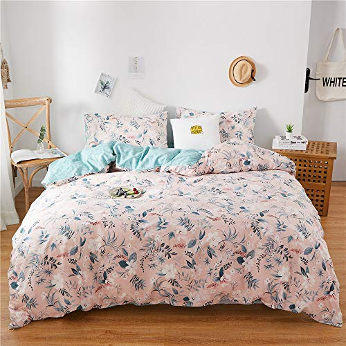 BHUSB Floral Branches Bedding Duvet Cover Set Queen Size 100% Cotton Pink 3 Piece Bedding Sets, Watercolor Botanical Flowers and Green Leaves Garden Pattern Printed with Zipper Closure