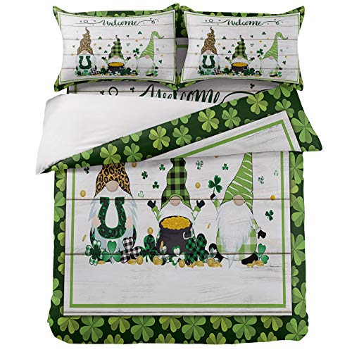 OneHoney Ultra Soft 4 Pieces Bedding Sets California King Saint Patrick's Day Celtic Clovers Leaves Luxury Duvet Cover Set with 2 Pillow Shams Bedspread Bed Sheet Dwarf with Horseshoe