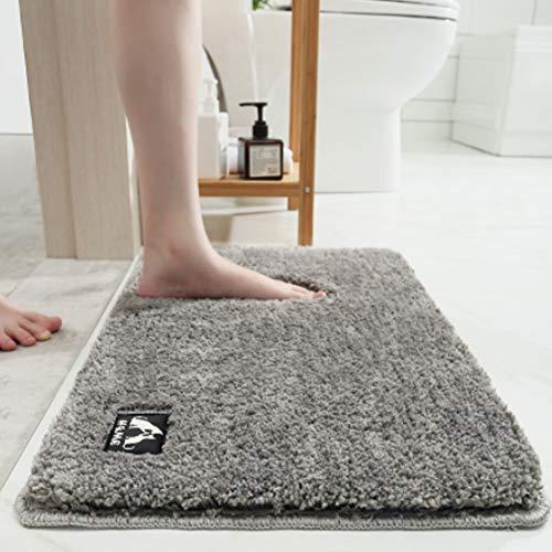 Tappeto da bagno,Tappeto da Bagno Assorbente , Tappetino Lavabile in Lavatrice con Microfibre Morbide Assorbenti per Vasca, Doccia e Bagno (50 x 80 x 3 cm, grigio)