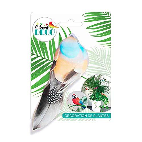 STC Déco Plantes – Petit Oiseau Orange et Bleu CD3833