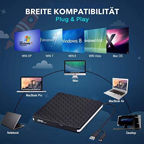 Externes CD DVD Laufwerk, Amicool USB 3.0 mit Type-C Portable DVD/CD Brenner und -Lesegerät/Plug&Play/niedriger Lärm/Slim Superdrive für Laptop, Desktop, Mac, Macbook, Ios, Windows 10/8/7/XP and Linux