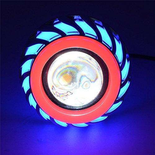 Andux Zone Angel Devil Eyes Moto/Auto Hi/Low Fascio LED Projector faro EMY-03 (Blu/Rosso, 1 pezzo)