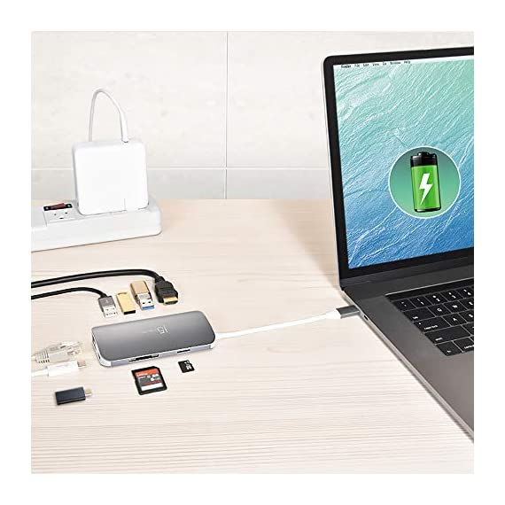 j5create USB C Hub Adapter Multi-Monitor 10-in-1 Port Docking Station 4K HDMI, VGA, Ethernet, USB 3.0, MicroSD, SD, USB… 9 Allows you to connect your laptop to an additional monitor via HDMI or VGA. USB C multi-adapter gives you 2 USB Type-A ports for additional peripherals and 1 USB Type-A port with BC 1.2 to fast-charge your mobile devices. Two USB 3.1 Gen 1 ports provide up to 5 Gbps transfer speed, which is 10x faster than USB 2.0