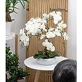 Photo Gallery linea decorativa | orchidea bianca artificiale | 55 cm | festa della mamma | sensazione reale | 6 rami | taglio ceramica bianca | composizione fiore artificiale | decorazione per la casa
