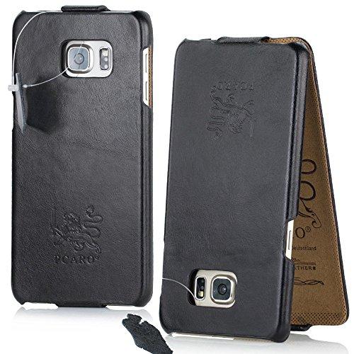 PCARO® Smooth Jazz Echtleder Hülle für Samsung Galaxy S9 - Handmade (Rindsleder) Leder Tasche in Schwarz - Ledertasche - Original Cover