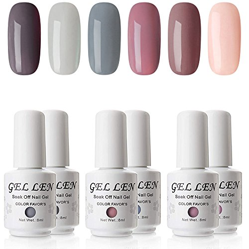 Gellen Gel Nail Polish Set - Nude Grays 6 Colors, Popular Nail Art Colors UV LED Soak Off Nail Gel Kit
