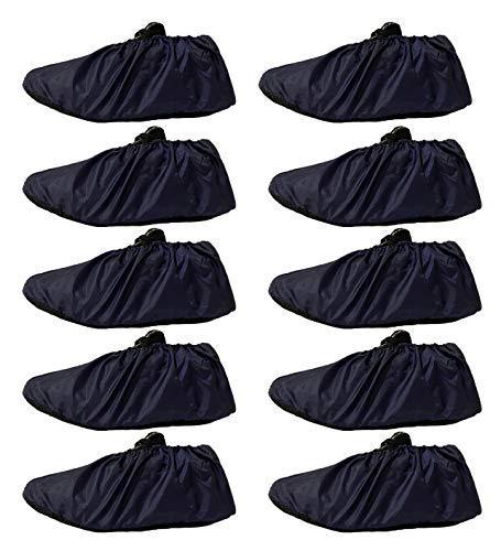 GiantGo 5 paia di copriscarpe riutilizzabili - antiscivolo impermeabile - Copriscarpe premium per scarpe - Protezione per la casa moquette pavimento – Lavabile in lavatrice, blu navy