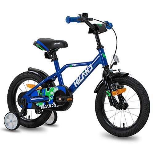 HILAND Adler 12 Zoll Kinderfahrrad für Jungen 2-5 Jahre mit Stützrädern, Handbremse und Rücktritt blau