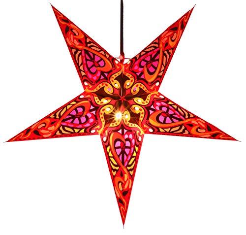 Guru-Shop Faltbarer Advents Leucht Papierstern, Weihnachtsstern 60 cm - Galadriel Rot, Star Fensterdeko, 7 Spitzen